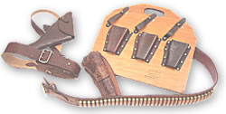 Pulley &Powell leather holster with Boarding Party Pistol Board